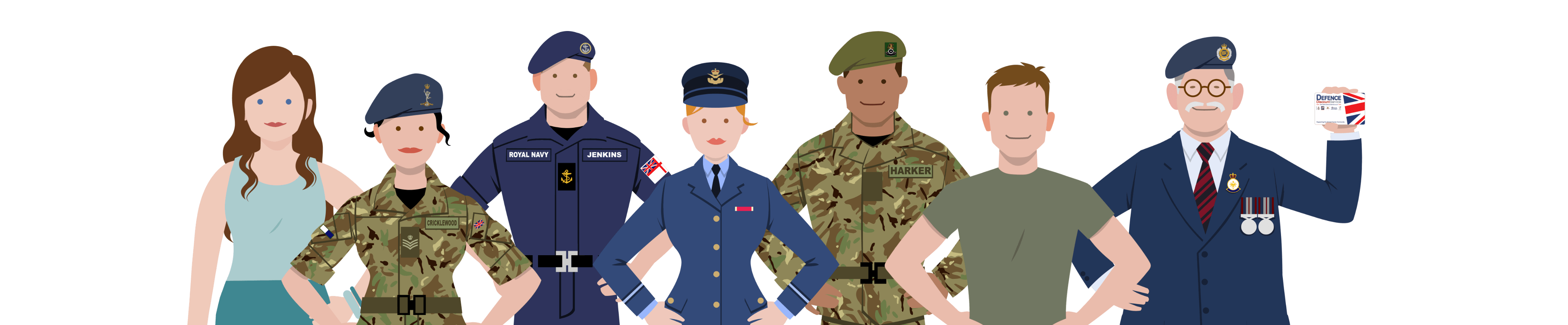 Defence Discount Services characters
